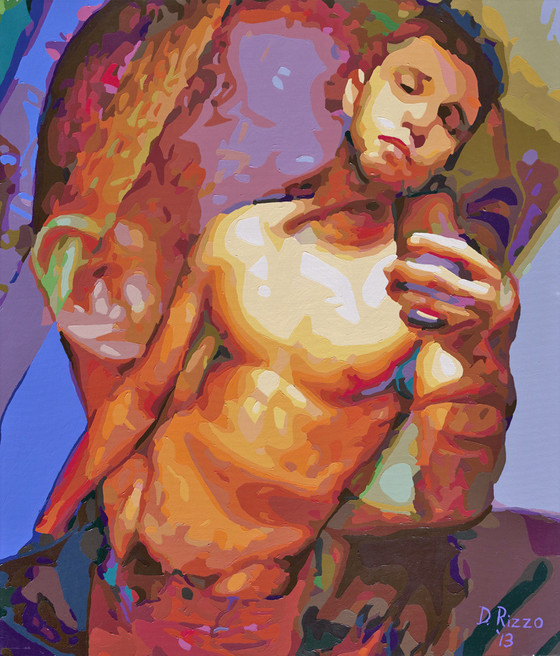 """Gay Male Art paintings """"Looking"""" by San Francisco artist Donald Rizzo. Donald Rizzo paints optical illusions in a style call Ambiguous Delusions."""