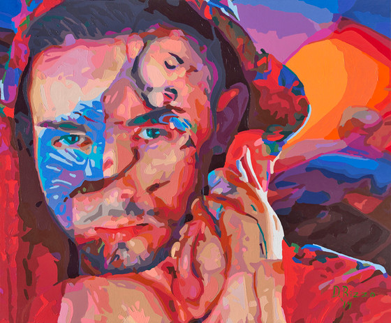 "Gay Male Art paintings ""Turk Mason"" by San Francisco artist Donald Rizzo. Donald Rizzo paints optical illusions in a style call Ambiguous Delusions."