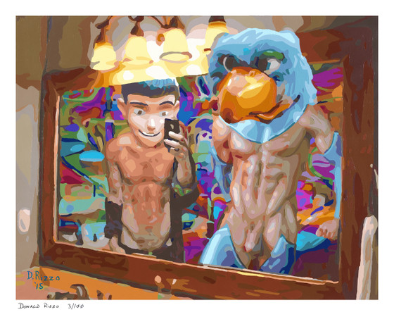 Shop for Gay Male Art Chicken Hawk Print a limited edition print by San Francisco artist Donald Rizzo. Donald Rizzo paints optical illusions in a style call Ambiguous Delusions.