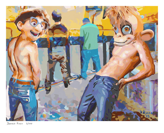 Shop for Gay Male Art Cottaging Monkey Print a limited edition print by San Francisco artist Donald Rizzo. Donald Rizzo paints optical illusions in a style call Ambiguous Delusions.