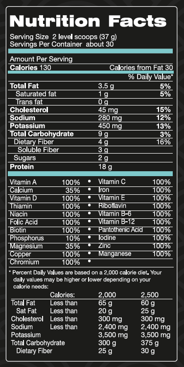 Unicity Complete Chocolate with Stevia Supplement Facts