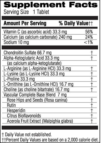 Unicity Vascular Complete 90 Tablets, Ingredients