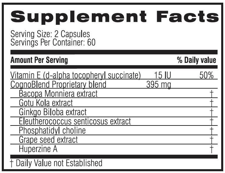 Unicity CognoBlend 120 Capsules #6003, Ingredients