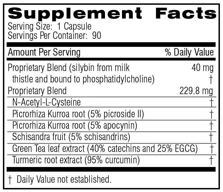 Unicity Liver Essentials 90 Capsules #15880, Supplement Facts