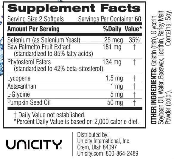 Unicity Prostate TLC 120 Softgels #29017 Ingredients