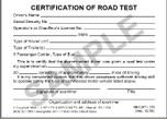 Certificate of Road Test & Written Test - Wallet Card