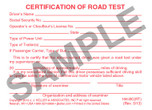 Certificate of Road Test Wallet Card
