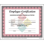 Hazardous Materials Made Easier for All Employees - Employee Training Certificate