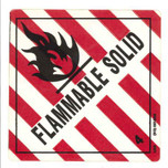 Label - DOT Flammable Solid Class 4 Red & White - Vinyl Adhesive Single