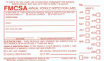 Annual Vehicle Inspection Decal  with punch boxes