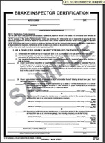 Brake Inspector Certificate Form -2 ply