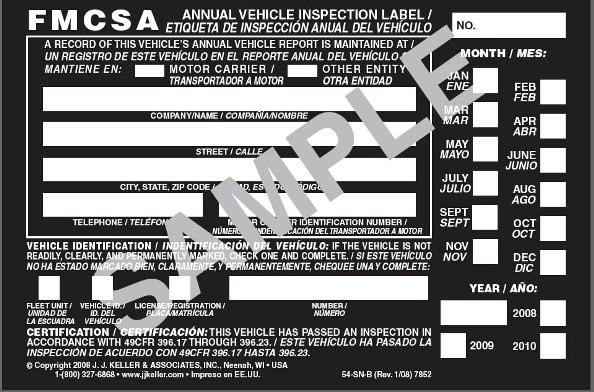 Annual Inspection Decal Black Bilingual English Spanish