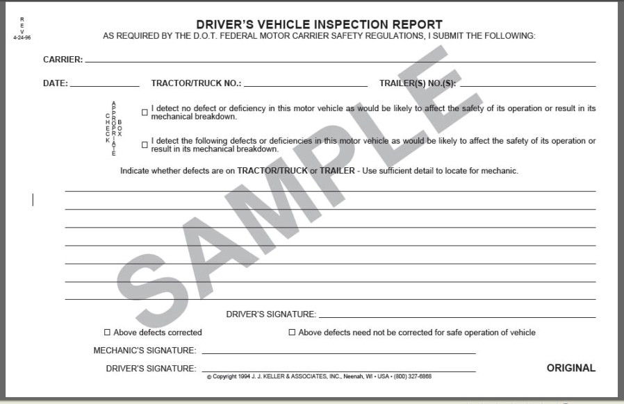 Missouri Safety Inspection >> Daily Vehicle Inspection Book 3 Ply Simplified Carbonless