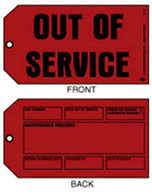 Out of Service / Maintenance Required Tag - Red with Wire