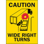 Caution Wide Right Turns -Yellow Vinyl Adhesive Sign - Vertical Format