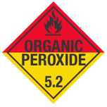Placard - Organic Peroxide - Class 5.2 Red over Yellow -Vinyl Adhesive