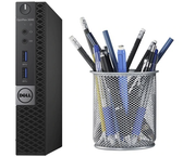 The Dell Optiplex 3040 Micro is shown here with a standard size pencil cup for scale.