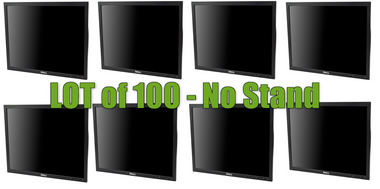 """QTY 100  - Dell 19"""" Flat Panel Monitor - NO STAND Ideal for bracket, wall, our custom cabinet mounting."""