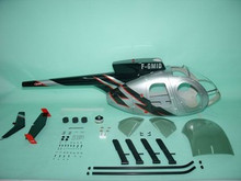 FUNKEY Scale fuselage Hughes MD500E  .60 (700) size Silver Color with Landing Skid