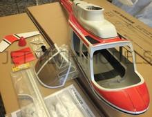 FUNKEY SCALE FUSELAGE JET RANGER .60(700) size RED COLOR + Landing Skid (Silver)
