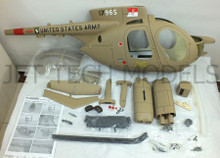 FUNKEY Scale fuselage Hughes 500MD TOW DEFENDER .50 (600) size Army Desert Color with Landing Skid