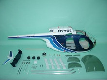 FUNKEY Scale fuselage Hughes 500D .60 (700) size BLUE Color with Landing Skid