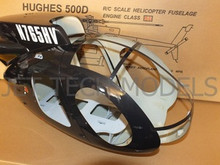 FUNKEY Scale fuselage Hughes 500D .60 (700 ) size Black Color with Landing Skid