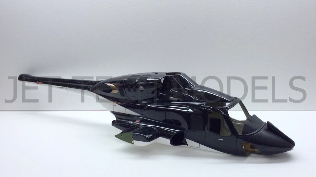 (New version) FUNKEY Scale Fuselage AIRWOLF  60 (700) size Black color with  retractable landing gear