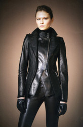 Plein Sud Leather Jacket with Pantalon Leggings