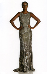 Theia Micro Beaded Sleeveless Gown with Crystal Trim