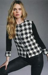 Rena Lange Black and Ivory Wool Cardigan
