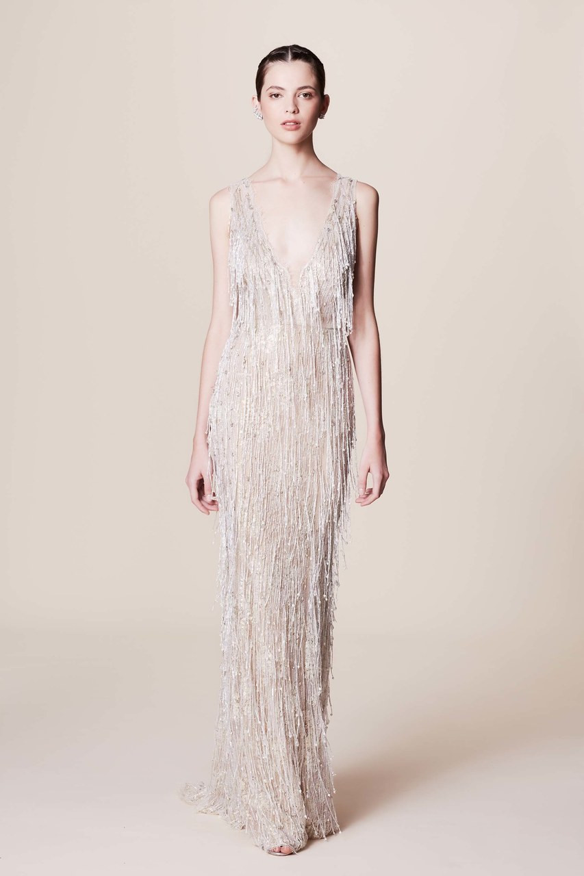 97e9c6efcbf Marchesa Sleeveless Pearl Fringe Gown - Vivaldi Boutique