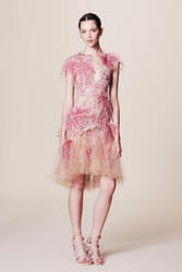 Marchesa Feather Applique Cocktail Dress