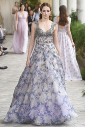 Luisa Beccaria Organza Embroidered Printed Gown