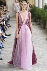 Luisa Beccaria Tulle Bicolor V Neck Gown With Flowers Details