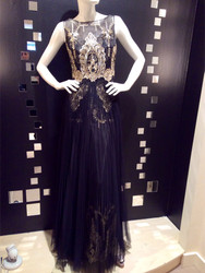 Marchesa Notte Pleated Overlay Gold and Black Gown