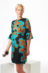 Algo Spring/Summer 2017: Satin silk print teal, cognac, and black dress with ruffle sleeve
