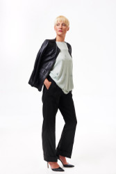 Algo Spring/Summer 2017: Bejeweled knit shirt, light kid leather jacket, silk faille wide leg slacks