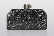Judith Leiber Paillettes Faceted Clutch Silver Jet
