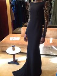 Badgley Mischka Long Crepe Embroidered Dress