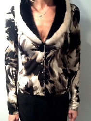 Blumarine Print Cardigan With Mink