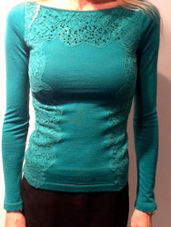 Blumarine Embroidered Boat Neck Lace Sweater