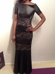 Ivarson Lace Cap Sleeve Leather Long Dress