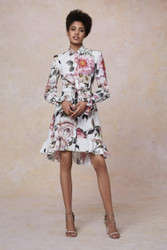 Marchesa Resort 2019 Floral Printed Cotton Shirt Dress