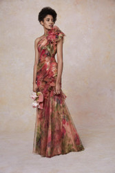 Marchesa Resort 2019 One Shoulder Fit and Flare Printed Gown