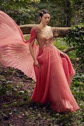 Marchesa Spring / Summer 2019 Pink Coral Organza and Illusion Tulle Gown