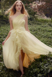 Marchesa Spring / Summer 2019 Lemon One Shoulder Pebble Organza Gown