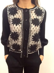 Tomaso Stefanelli Embroidered Flower Lace Cardigan