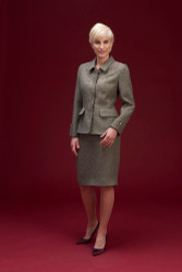 Algo Of Switzerland Cashmere Jacket and Skirt With Metallic Detail