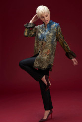 Algo Of Switzerland Metallic Lace Shirt With Silk Pants